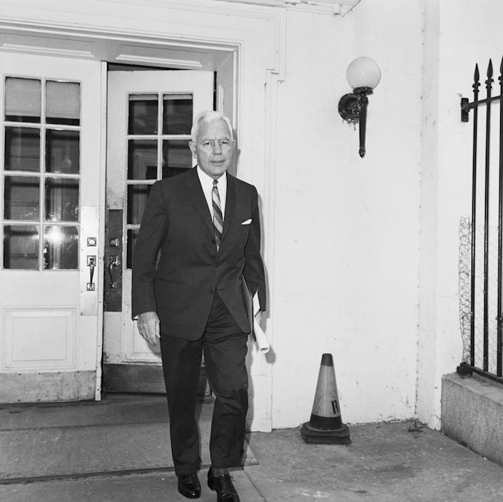 CIA Director John McCone leaves the White House after a meeting of the Executive Committee of the National Security Council on Oct. 23, 1962. (Photo: Bettmann Archive via Getty images)
