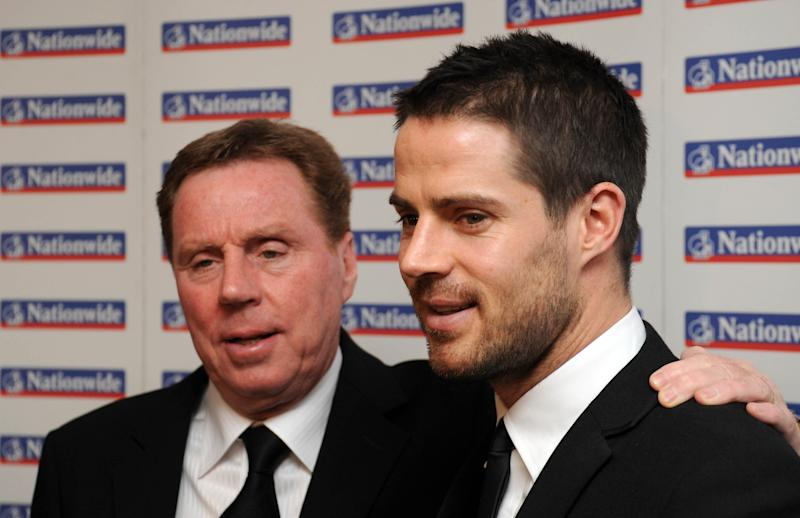 Harry Redknapp, left and his son Jamie at the HMV Football Extravaganza at the Grosvenor House Hotel, London. (Photo by Ian West - PA Images/PA Images via Getty Images)