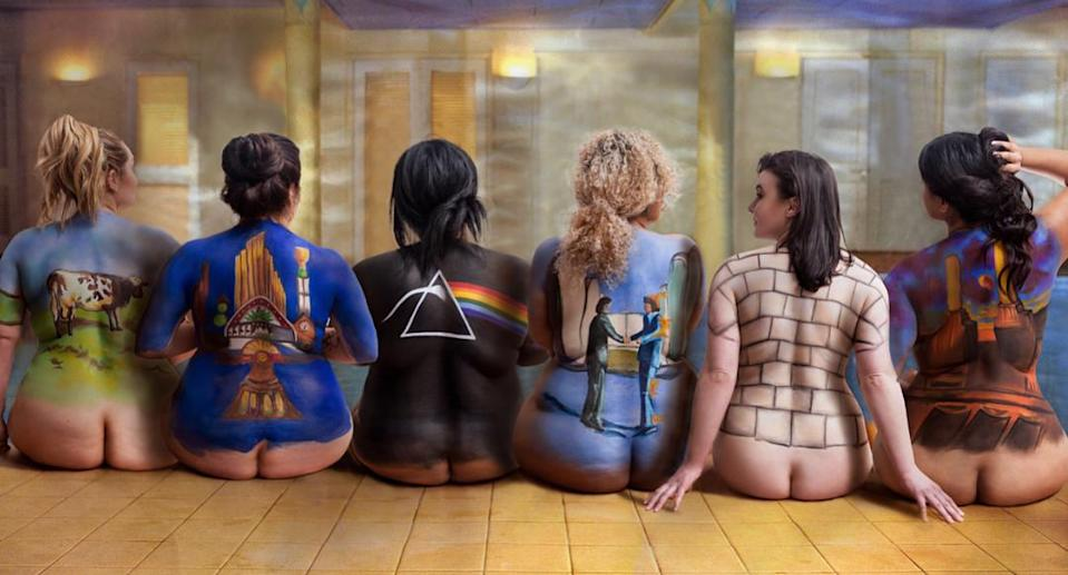 """The 1997 iconic Pink Floyd """"Back Catalogue"""" poster gets a 2018 remake with curvy women. (Photo: Karizza/photokarizza.com)"""