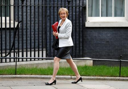 Britain's Conservative Party's leader of the House of Commons Andrea Leadsom is seen outside Downing Street in London, Britain, March 26, 2019. REUTERS/Peter Nicholls