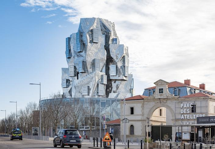 Frank Gehry's Luma Arles Tower serves as the centerpiece of the Luma Arles Arts Center in Southern France.