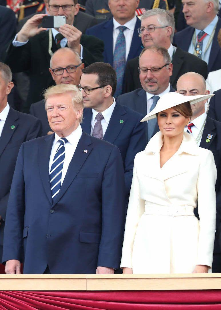 For their final day of the UK state visit, Melania Trump showcased her fashion know-how in a belted coat by The Row [Photo: Getty]