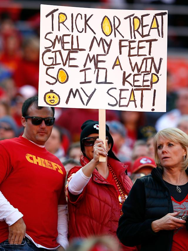 KANSAS CITY, MO - OCTOBER 28: Kansas City Chiefs fans hold a sign during the game against the Oakland Raiders at Arrowhead Stadium on October 28, 2012 in Kansas City, Missouri. (Photo by Jamie Squire/Getty Images)