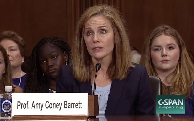 US Circuit Court Judge Amy Coney Barrett sat for a confirmation hearing before the Senate Judiciary Committee in 2017. (Screen grab via C-SPAN)