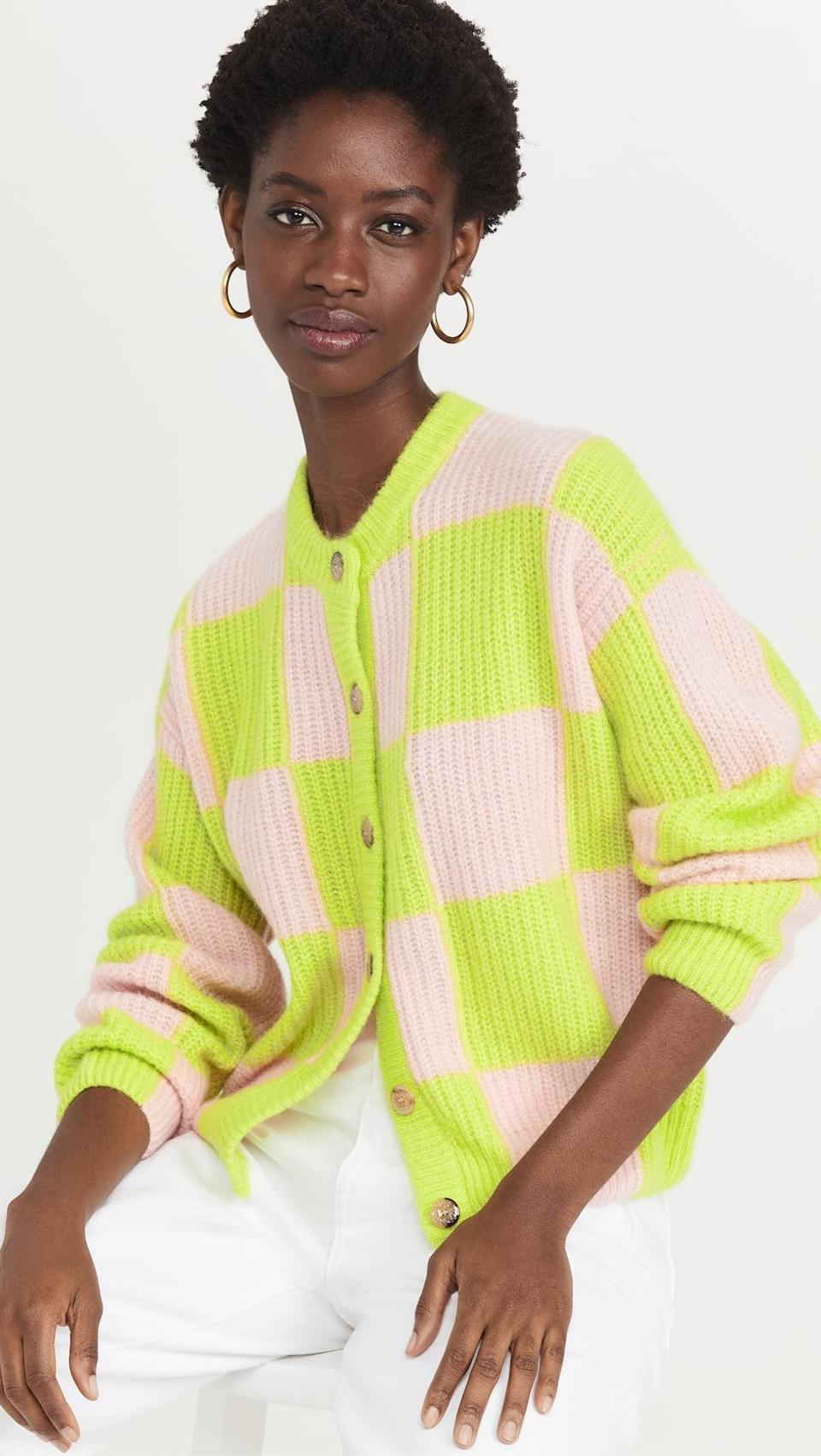 <p>We love checkered print and neon shades right now. Get the best of both worlds with this <span>Stine Goya Harry Cardigan</span> ($420).</p>