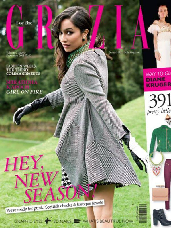 <p><strong>Shraddha Kapoor for Grazia, September 2013</strong>: The young actress looked regal in a houndstooth jacket and dress. She adorned her neck with a green statement neckpiece.</p>