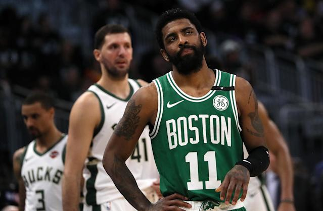 Kyrie Irving won't opt in to his deal with the Celtics for the 2019-2020 season. (Photo by Barry Chin/The Boston Globe via Getty Images)