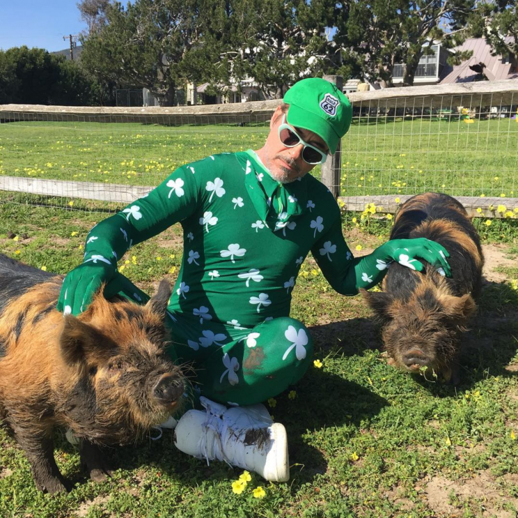 Robert Downey Jr. went all out for St. Patrick's Day. (Photo: Instagram)