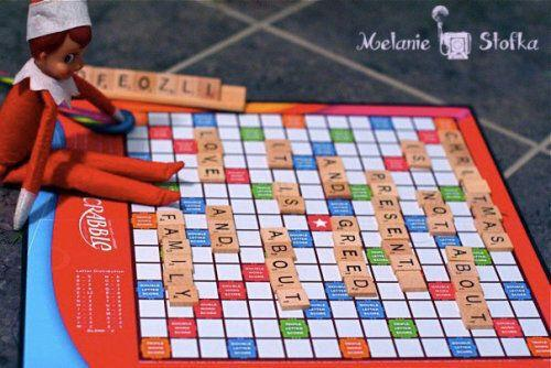 "<p>Overnight your elf broke out the Scrabble set and spelled out his favourite holiday words.</p> <p>Source: <a href=""http://rockingmy365project.com/2012/11/03/elf-mischief/"" target=""_blank"">Rocking My 365 Project</a></p>"