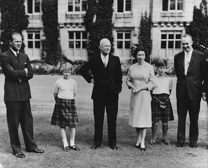 """<p>President Eisenhower with the British royal family at Balmoral in Scotland. Following his return to the states the Queen mailed him a recipe for her drop scones, which they enjoyed during his visit. <a href=""""https://www.townandcountrymag.com/leisure/dining/news/a9134/queen-elizabeth-drop-scones-recipe/"""" rel=""""nofollow noopener"""" target=""""_blank"""" data-ylk=""""slk:Get her recipe for the pancake-like treat, right here."""" class=""""link rapid-noclick-resp"""">Get her recipe for the pancake-like treat, right here.</a></p>"""