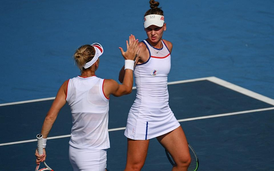 Vesnina and Kudermetova are up a set in their quest for a bronze medal - AFP