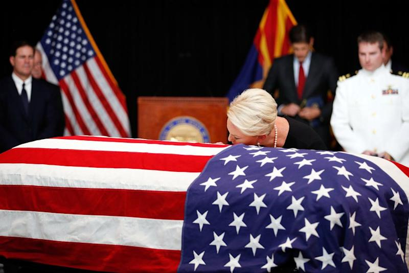 Cindy McCain at her husband's funeral