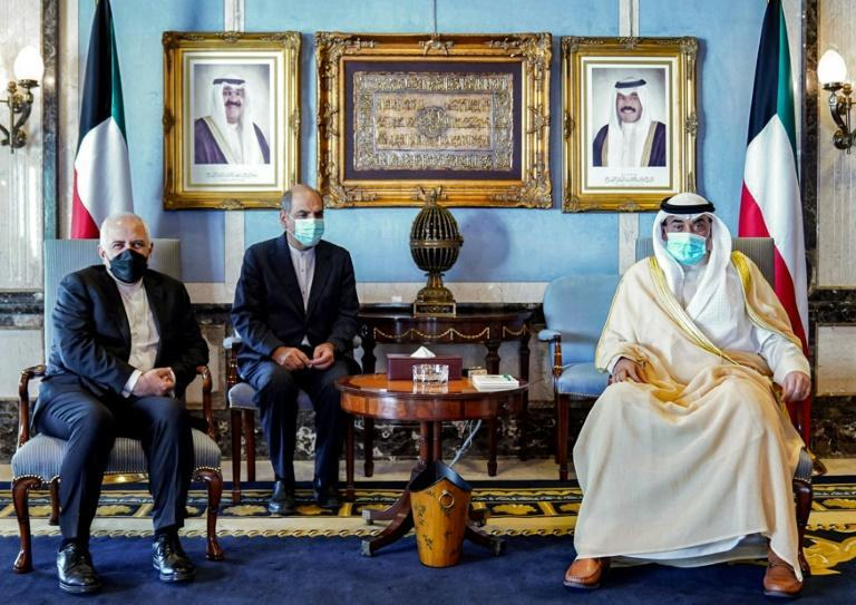 Zarif, pictured left at al-Seef palace in Kuwait City on April 29, has lately been on a regional tour and has repeatedly taken to Instagram to respond to the leak