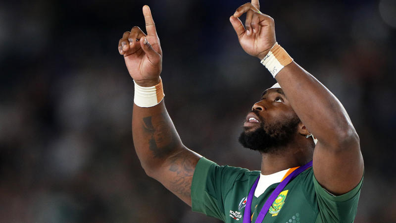 Siya Kolisi, pictured after getting his winner's medal at the Rugby World Cup in Japan.