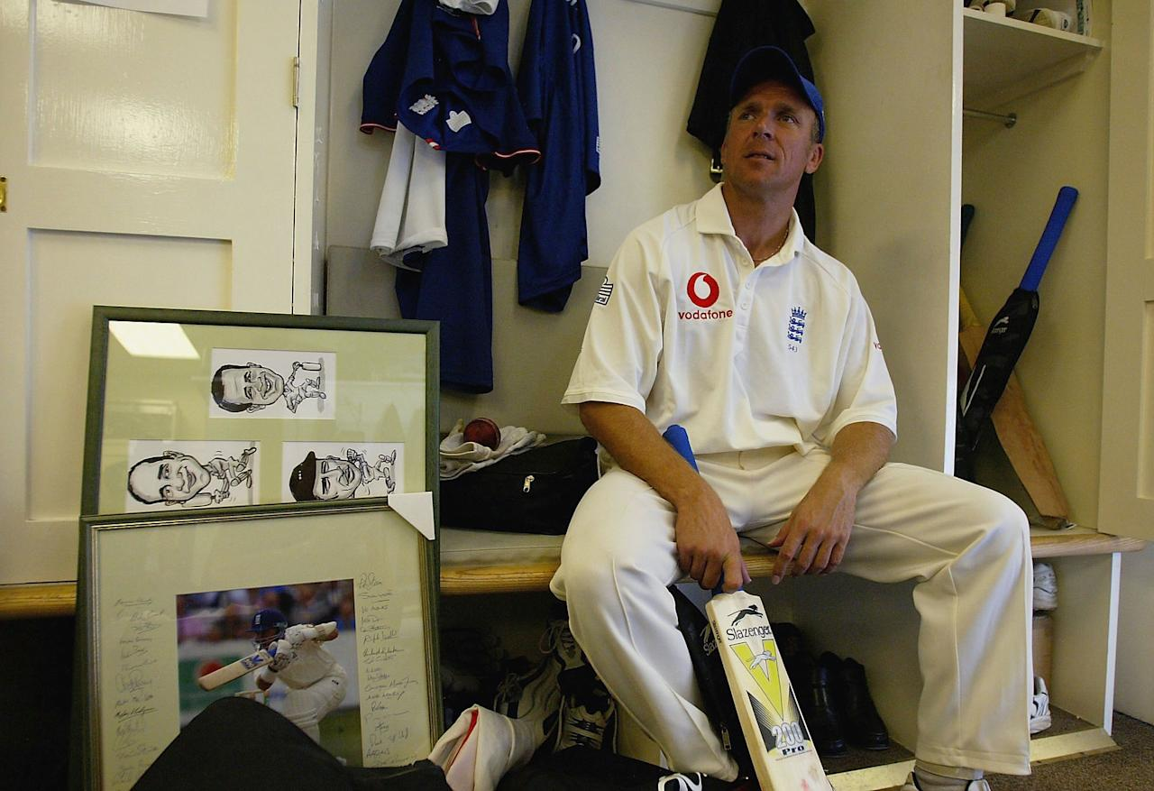 LONDON - SEPTEMBER 8:  Alec Stewart of England in the changing room reflects on England's victory over South Africa on the fifth day of the fifth npower test match between England and South Africa at The AMP Oval Cricket Ground on September 8, 2003 in London. (Photo by Clive Mason/Getty Images)