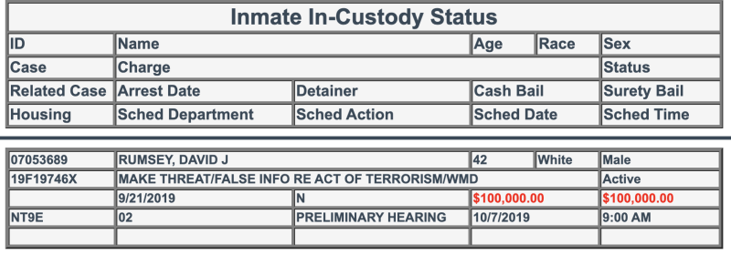David Rumsey is in Clark County Detention Center in Nevada. (Screenshot: Clark County Detention Center)