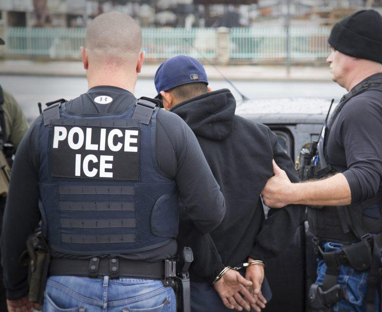 This photo, released Tuesday, Feb. 7, 2017, shows foreign nationals being arrested in a targeted enforcement operation by U.S. Immigration and Customs Enforcement (ICE) aimed at immigration fugitives, re-entrants and at-large criminal aliens in Los Angeles. (Photo: Charles Reed/U.S. Immigration and Customs Enforcement via AP)