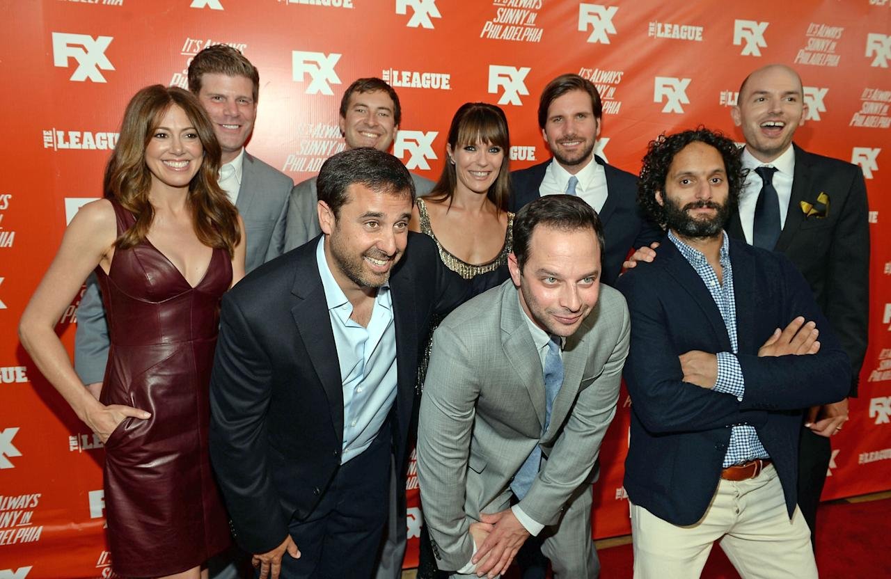 "HOLLYWOOD, CA - SEPTEMBER 03:  (L-R) Executive Producer Jackie Marcus Schaffer, actor Stephen Rannazzisi, Executive Producer Jeff Schaffer, actors Mark Duplass (rear), Katie Aselton, Nick Kroll, Jon Lajoie, Jason Mantzoukas and Paul Scheer attend the premiere and launch party for FXX Network's ""It's Always Sunny In Philadelphia"" and ""The League"" at Lure on September 3, 2013 in Hollywood, California.  (Photo by Michael Buckner/Getty Images)"