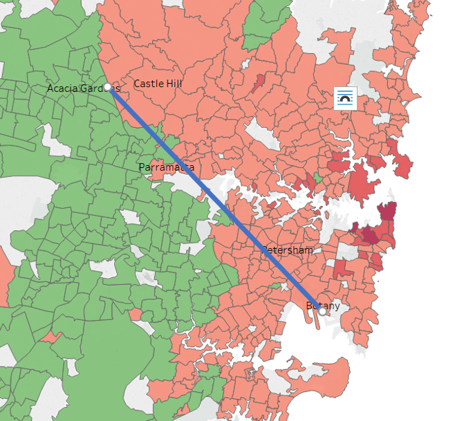 Map depicting house values in Sydney and Red Rooster line. Image: realestate.com.au