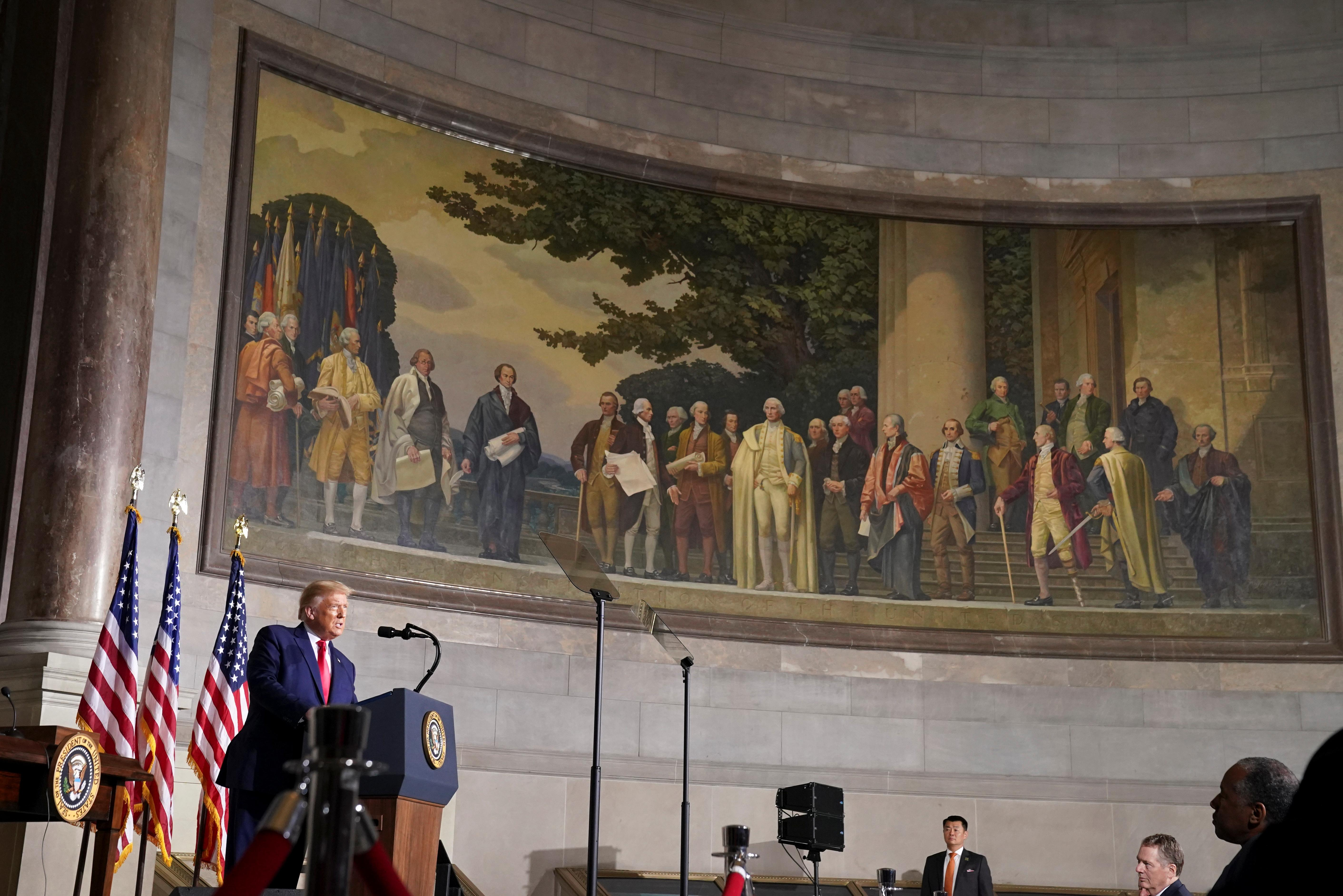 U.S President Donald Trump speaks at the White House Conference on American History at the National Archives Museum in Washington, U.S., September 17, 2020. REUTERS/Kevin Lamarque