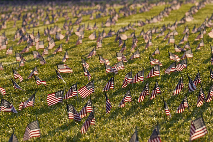 Flags marking the lives lost to COVID-19 in the United States are seen on the grounds of the National Mall in Washington, D.C., Tuesday. (AP Photo/J. Scott Applewhite)