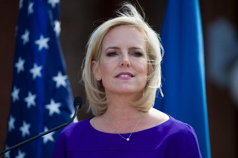 Former Homeland Security Secretary Kirstjen Nielsen ordered border agents to stop asylum-seekers from stepping on U.S. soil at official crossings with Mexico in 2018, undercutting public statements at the time that they were welcome to do so, according to a government watchdog report published Friday.
