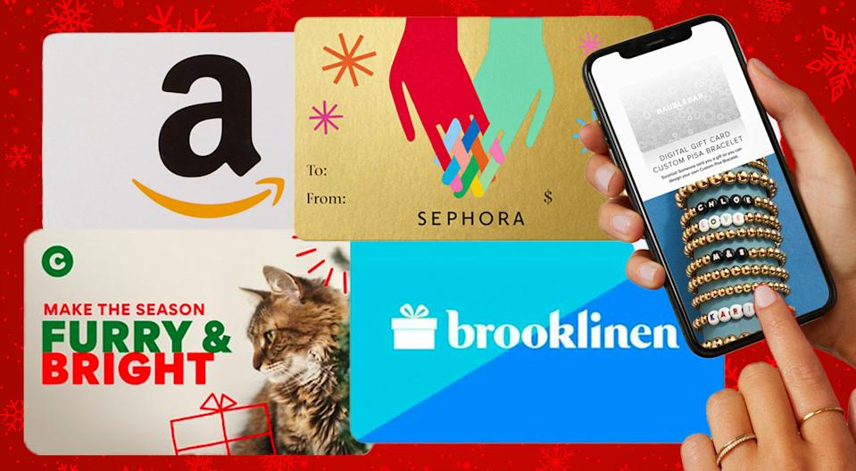Everybody loves the right gift card. (Photo: Amazon/Chewy/Sephora/Brooklinen/Baublebar)
