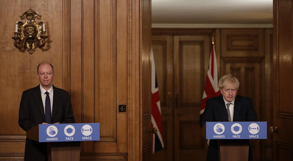 Prime Minister Boris Johnson (right) and Chief Medical Officer Professor Chris Whitty during a media briefing on coronavirus (COVID-19) in Downing Street, London.