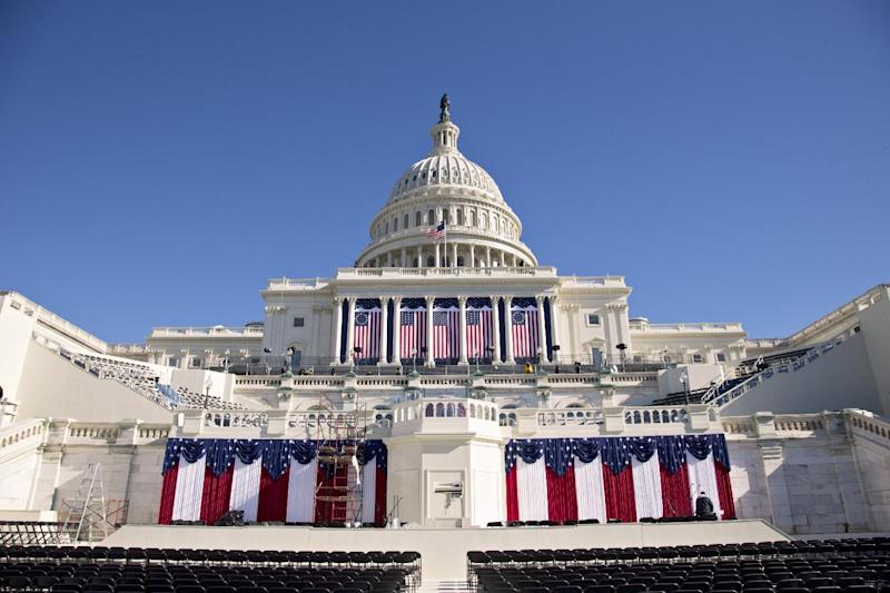 The West Front of the Capitol in Washington is dressed in red, white and blue with two days to go before the 57th Presidential Inauguration and President Obama's second inauguration, Saturday, Jan. 19, 2013. (AP Photo/J. Scott Applewhite)