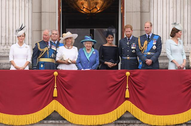 The Duchess of Sussex with the royal family at the RAF centenary celebrations. (Photo: Rex)