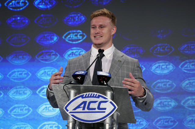 Georgia Tech's David Curry speaks during the Atlantic Coast Conference NCAA college football media days in Charlotte, N.C., Thursday, July 18, 2019. (AP Photo/Chuck Burton)