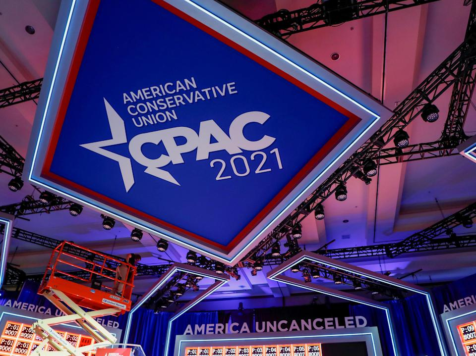 <p>Stage design at the CPAC conference has been compared to Nazi symbol</p> (REUTERS)