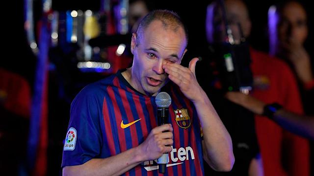 Emotions were high for Iniesta's Barcelona swansong. Pic: Getty