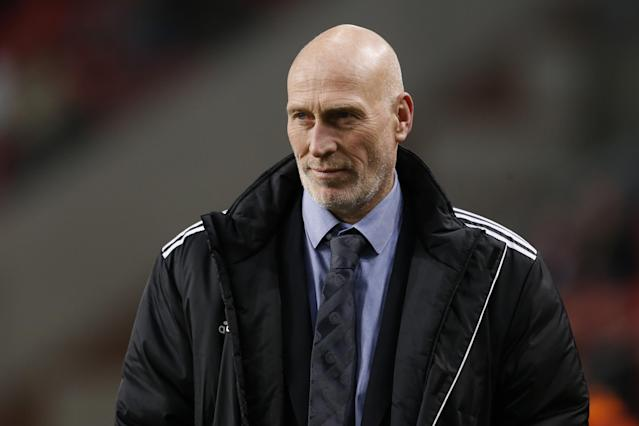 Jaap Stam of Ajax during the Dutch Eredivisie match between Ajax Amsterdam and Heracles Almelo on November 23, 2013 at the Amsterdam Arena in Amsterdam, The Netherlands.(Photo by VI Images via Getty Images)