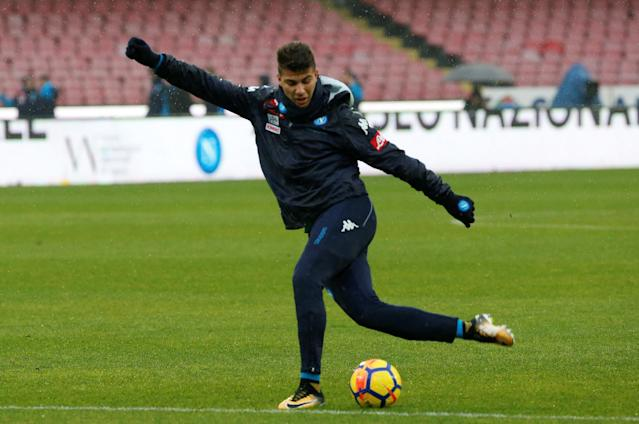 Soccer Football - Serie A - Napoli vs SPAL - Stadio San Paolo, Naples, Italy - February 18, 2018 Napoli's Zinedine Machach during the warm up before the match REUTERS/Ciro De Luca