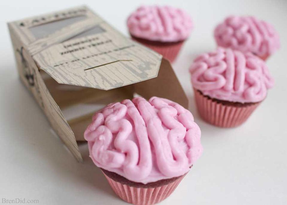 """<p>These beet spice, brainy cupcakes are all natural and have no artificial food coloring. And there's nothing scary about that.</p><p><strong>Get the recipe at <a href=""""http://brendid.com/all-natural-zombie-brain-cupcakes/"""" rel=""""nofollow noopener"""" target=""""_blank"""" data-ylk=""""slk:Bren Did"""" class=""""link rapid-noclick-resp"""">Bren Did</a>.</strong></p><p><a class=""""link rapid-noclick-resp"""" href=""""https://www.amazon.com/Wilton-Non-Stick-Muffin-Cupcake-Baking/dp/B00KIFBI1C/?tag=syn-yahoo-20&ascsubtag=%5Bartid%7C10050.g.1366%5Bsrc%7Cyahoo-us"""" rel=""""nofollow noopener"""" target=""""_blank"""" data-ylk=""""slk:SHOP CUPCAKE TINS"""">SHOP CUPCAKE TINS</a></p>"""
