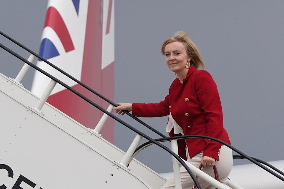 Liz Truss boards RAF Voyager at Stansted Airport ahead of a four-day visit to New York and Washington (PA)