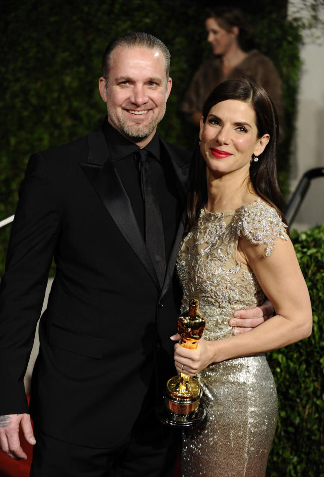 FILE - In this March 7, 2010 file photo, Sandra Bullock and Jesse James arrive at the Vanity Fair Oscar party in West Hollywood, Calif.
