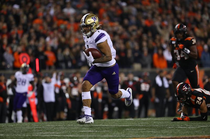 Washington TE Hunter Bryant has terrific receiving potential, but his medical concerns must be answered. (Photo by Abbie Parr/Getty Images)