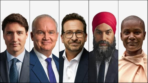 Liberal Leader Justin Trudeau, left, Conservative Party of Canada Leader Erin O'Toole, centre left, Bloc Québécois Leader Yves-François Blanchet, centre, NDP Leader Jagmeet Singh, centre right, and Green Party Leader Annamie Paul.  (CBC, Erin O'Toole/Creative Commons, CBC, CBC, Chris Young/The Canadian Press - image credit)