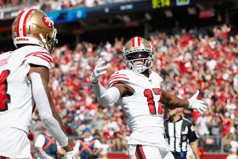 Emmanuel Sanders (17) should help smooth over some of Jimmy Garoppolo's weaknesses for the 49ers. (Getty Images)