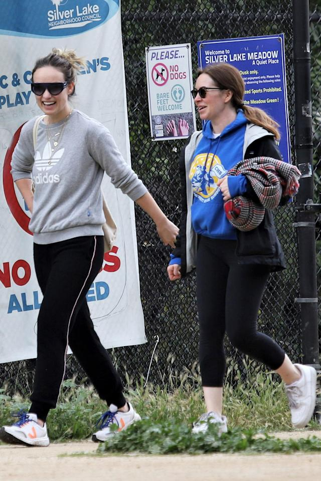 <p>Olivia Wilde enjoys a hike in Los Angeles with a friend on Friday.</p>