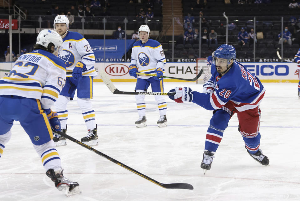 New York Rangers' Chris Kreider (20) scores a second-period goal against the Buffalo Sabres during an NHL hockey game Tuesday, March 2, 2021, in New York. (Bruce Bennett/Pool Photo via AP)