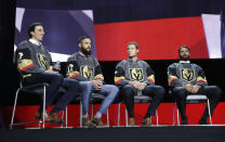 FILE - In this Wednesday, June 21, 2017, file photo, from left, Vegas Golden Knights' Marc-Andre Fleury, Deryk Engelland, Brayden McNabb and Jason Garrison sit on stage during an event following the NHL expansion draft in Las Vegas. In 2017, the NHL altered some of its expansion draft rules and Vegas used the expansion draft to become the most successful first-year franchise in league history, reaching the Stanley Cup Final. It is same rules and situation this time around for the Seattle Kraken, which have its own expansion draft next week. (AP Photo/John Locher, File)