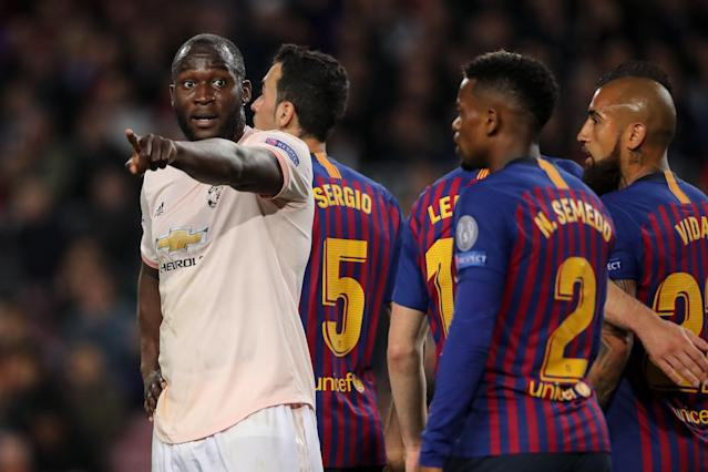 Romelu Lukaku during the UEFA Champions League Quarter Final second leg match between Barcelona and Manchester United at Camp Nou on April 16, 2019 in Barcelona, Spain (Photo by Matthew Ashton - AMA/Getty Images)