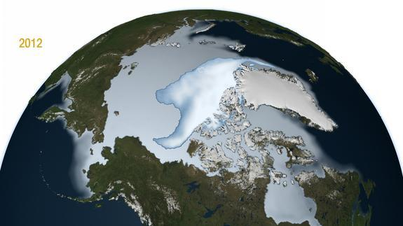 Multi-year Arctic ice in 2012. The bright white central mass shows the perennial sea ice. The larger light blue area shows the full extent of the winter sea ice including the average annual sea ice during the months of November, December and Ja