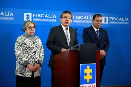 Colombian AttorneyGeneralNestor Humberto Martinez, speaks during a news conference in Bogota, Colombia May 15, 2019. Courtesy of Colombian Attorney General's Office/Handout via REUTERS