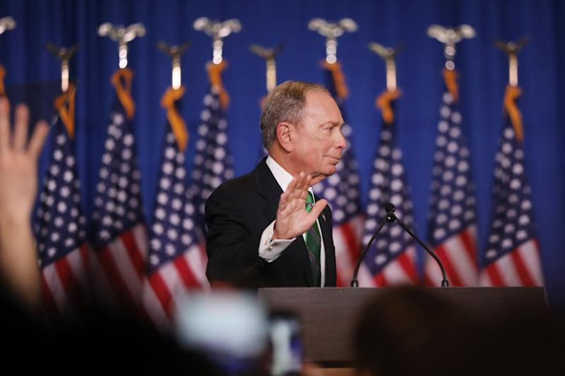 Former Democratic presidential candidate Mike Bloomberg addresses his staff and the media after announcing that he was ending his campaign on March 4. Bloomberg spent more than $900 million on his presidential bid — and only a fraction of that on coronavirus aid. (Spencer Platt via Getty Images)