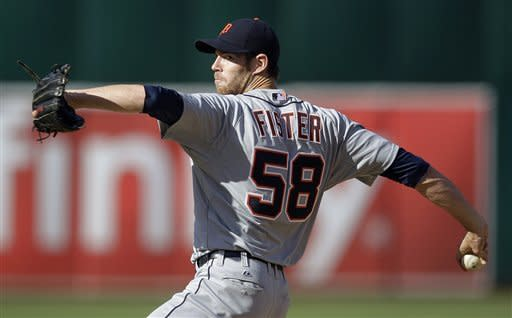 Detroit Tigers' Doug Fister works against the Oakland Athletics during the first inning of a baseball game, Saturday, May 12, 2012, in Oakland, Calif. (AP Photo/Ben Margot)