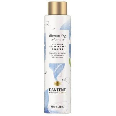 <p>The <span>Pantene Illuminating Color Care Sulfate Free Shampoo</span> ($7) uses a color-safe formula that features biotin to add strength to the hair while gently cleansing and restoring moisture to color-treated hair. </p>